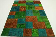 Orient Tapis Vintage Patchwork 240x160 turquoise vert orange noué à la main 2065