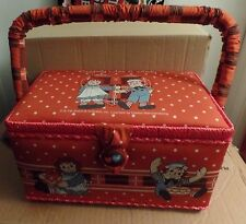 NEW Raggedy Ann & Andy RED Sewing Basket Box with Tray Japan