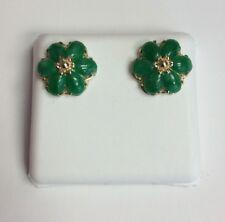 14K REAL YELLOW GOLD Chinese Jade Flower Design Stud EARRINGS 2.4g