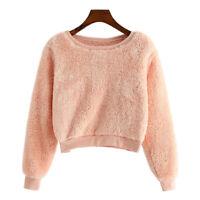 Women Winter Solid Fleece Long Sleeve Sweatshirt Crop Top Pullover Jumper Blouse