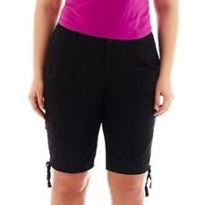 "St. John's Bay Women's Cargo Bermuda Shorts Black Size 4P NEW 9.5"" Inseam"