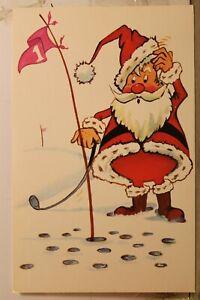 Christmas Xmas Santa Claus Golf Postcard Old Vintage Card View Standard Souvenir