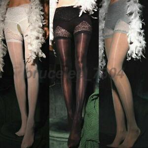 Damen 8D Nylon Sheer Glänzend Strumpfhose Öl Effekt Spitze transparent Stockings