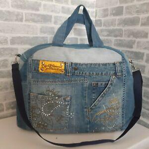 Handmade Extra large travel denim bag Denim bag of distressed jeans Unisex bag