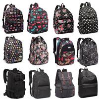 Boys Girls  School Canvas Oilcloth Backpack Rucksack Black Bag Multiple type