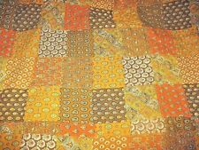 """VTG 70'S Paisley Patchwork Print Quilted SALVAGED Fabric Orange Brown 34""""x 80"""""""