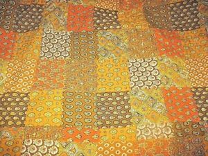"VTG 70'S Paisley Patchwork Print Quilted SALVAGED Fabric Orange Brown 28""x 60"""