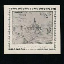 """Ambassadors Hotel BAGHDAD Iraq Irak * Old Luggage Label Kofferaufkleber """"L"""""""