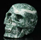 """1.9"""" Green Speckled Stone Carved Crystal Skull, Realistic, Crystal Healing"""