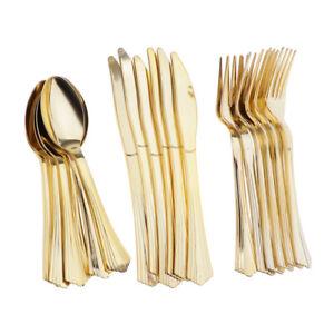 18 / set Geschirr Einweg-Plastikbesteck Gabeln Messer Löffel Golden