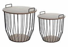 Metall Beistelltisch 2er Set mit Aufbewahrungskorb - Couchtisch Sofatisch Tisch