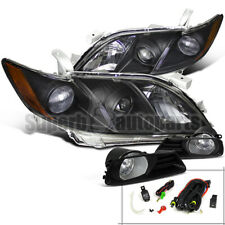 For 2007-2009 Toyota Camry Projector Headlights Black w/+Fog Lights Kit