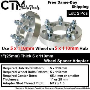 """2PC 1"""" THICK 5x110 TO 5x110 WHEEL ADAPTER SPACER FIT CHEVY/SATURN/PONTIAC/MORE"""