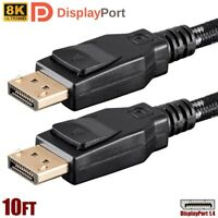 10FT Display Port DP 1.4 Male to Male Cable Braided 8K 60Hz HBR3 32.4Gbps HDR PC
