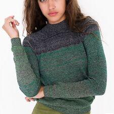 NWT American Apparel Women's Gaia Raglan Sweater Forest Melange Size SMALL S