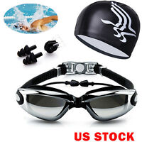 Men Women Swimming Glasses Goggles UV Protection Non-Fogging Swim Cap Nose Clip