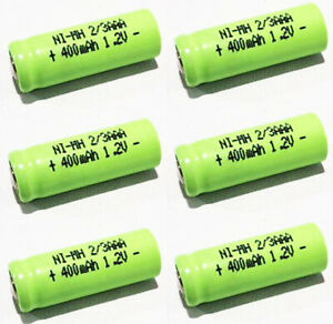 6 PCS x 2/3 AAA Ni-MH 1.2V 400mAh Rechargeable Battery Flat Top