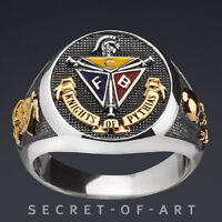 KNIGHTS OF PYTHIAS SILVER 925 RING 24K-GOLD-PLATED, OXIDIZED, EXCELLENT