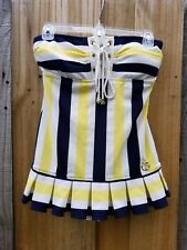 JUICY COUTURE SWIMDRESS PORT STRIPPED YELLOW NAUTICAL BATHING SUIT SIZE SMALL
