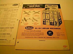 GUILLOW'S Balsa Models Original 1966 double sided color dealer flyer L@@K!