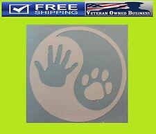 YING YANG DOG PAW & HUMAN HAND DECAL STICKER VINYL Adopt Cat Pet Pitbull Rescue