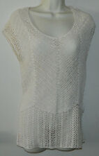 New Women DKNY sleeveless Casual Sheer Crochet Solid Ivory Blouse Top Size L