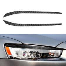 Carbon Fiber Headlight Eyelid Eyebrow Cover For Mitsubishi Lancer Evo 2008-14 (Fits: Mitsubishi)