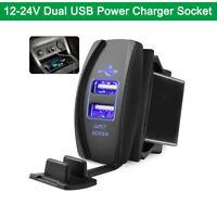Dual USB Phone Charger Port Socket Waterproof Blue LED Light Universal 12-24V