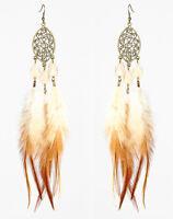 F2289 downy Feather bronze oval water drop bead cute dangle earrings hot