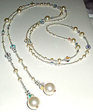 Glistening Cream-Colored Lariat/Wrap Necklace of Swarovski Crystals and Pearls