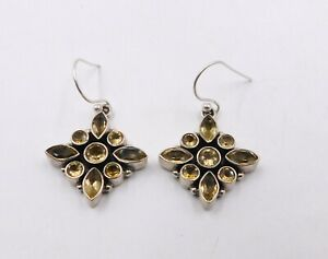 """6.50 Gm 925 Solid Sterling Silver Natural Citrine Cut Stone Earring 1.35"""" M-743"""
