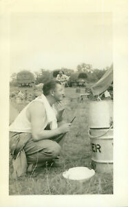 WWII 1940s US Army Pine Camp, NY maneuvers Photo Nohoi shaving, trucks, tents