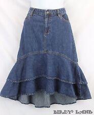 Ralph Lauren Tiered Denim Skirt  Asymmetrical Hi Lo Hem Boho Prairie Western 6
