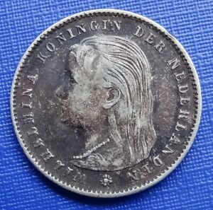 Netherlands 25 Cents Coin~1897 Wilhelmina I~.640 Silver 3.5g~KM#115~F~#370