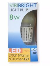 Box Of 10 LED Light Bulbs Viribright 8w Bulbs Edison Screw E27 2700K 600 Lumen