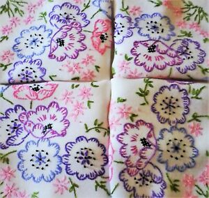 VINTAGE Tablecloth HAND EMBROIDERED Anemones FLORAL Delightful