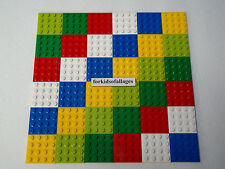 Lego 4x4 Stud Plates Lot: 36 Thin Flat Square Green Red White Blue Yellow Lime