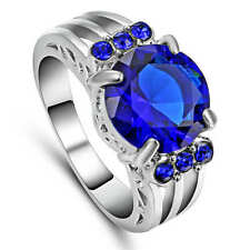 Gorgeous Blue  Sapphire Wedding Ring 18KT White Gold Filled Women's Size 6