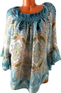 Zac & rachel white blue paisley print ruched scoop neck 3/4 sleeve top 2X