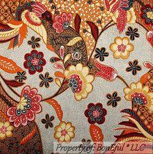 BonEful Fabric FQ Cotton Quilt VTG Brown Gray L Flower Red Orange White Dot Bird