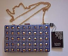 MMS DESIGN STUDIO COBALT BLUE CLUTCH or SHOULDER BAG w GOLD STUDS & GROMMETS NWT