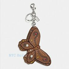 New Coach F58996 Studded Butterfly Bag Charm Saddle Brown Smooth Leather NWT