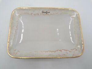 Pottery Barn Casafina Taormina Stoneware Soap Dish White and Gold #9969