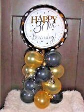 Foil Balloon Table Decoration Display Age 30 30th Birthday Black & Gold Airfill