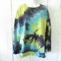 New Gigio By Umgee Tie Dye French Terry Sweatshirt S Small Oversized Blue Yellow