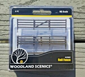 WOODLAND SCENICS 1/87 HO SCALE WOODEN RAIL FENCE 192 SCALE FEET 8 PIECES 2982 FS