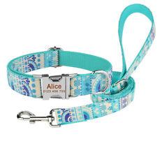 Adjustable Dog Collar Dog Leash Personalized Custom NAME Durable Nylon XS-L Lead