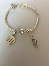 "Italian SS Bracelet w/ Serenity Prayer Charm/ Ichthus Fish Cross Charm, 7"""
