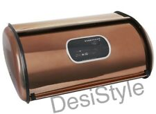 Copper Stainless Steel Bread Bin Kitchen Worktop Crock Container Storage Gift UK