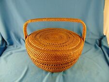 """Round basket cover handle 11"""" across x 5"""" high sewing wicker antique craftsmen"""